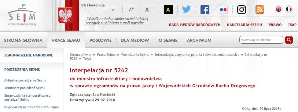 Interpelacja nr 5262 do ministra infrastruktury i budownictwa w sprawie egzaminów na prawo jazdy i Wojewódzkich Ośrodków Ruchu Drogowego