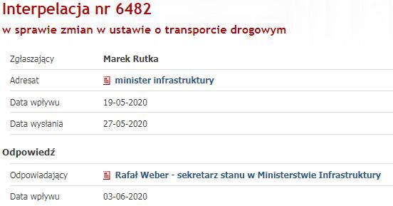 Interpelacja nr 6482 w sprawie zmian w ustawie o transporcie drogowym