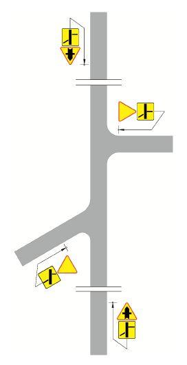 Przykłady oznakowania skrzyżowań znakami A-6, A-6b i A-6c z tabliczkami T-6b