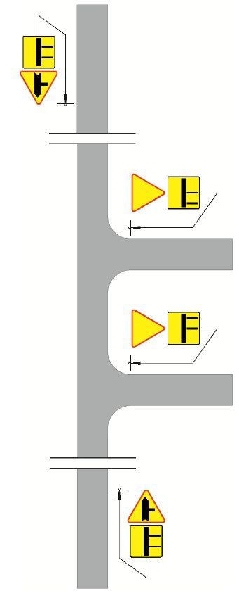 Oznakowanie sąsiadujących ze sobą skrzyżowań z wykorzystaniem znaków A-6b, A-6c, A-7 w połączeniu z tabliczkami T-6b