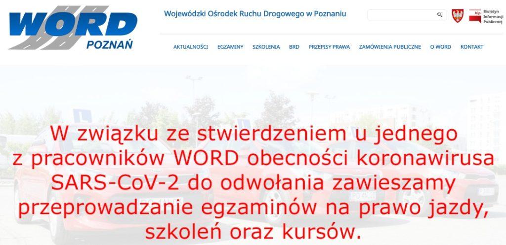 WORD Poznań zawiesza egzaminy i szkolenia