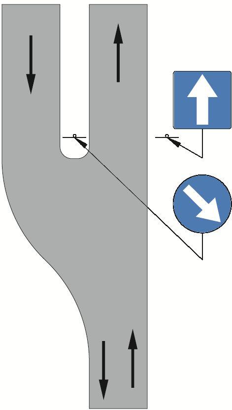 Zastosowanie znaku C-9 na początku pasa dzielącego jezdnie