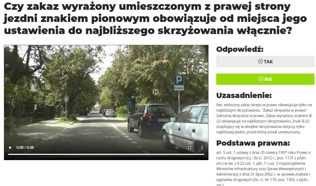 Czy zakaz wyrażony umieszczonym z prawej strony jezdni znakiem pionowym obowiązuje od miejsca jego ustawienia do najbliższego skrzyżowania włącznie?