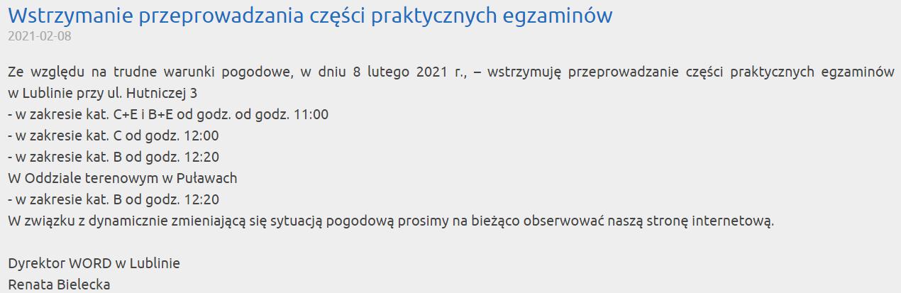 Dyrektor WORD Lublin odwołała egzaminy na prawo jazdy